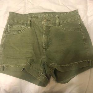 American Eagle High-Rise Green Shorts